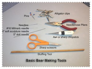 Basic tools for making teddy bears